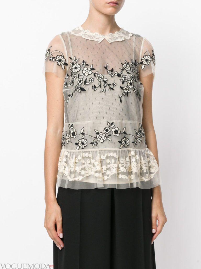 модная прозрачная блузка с кружевом