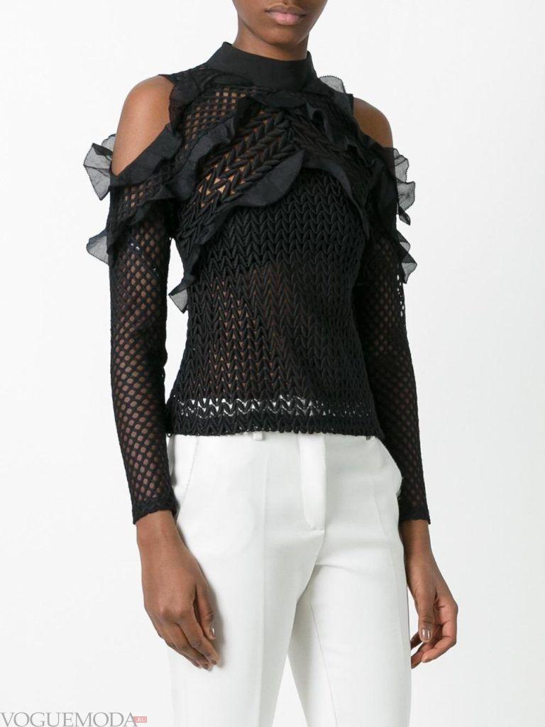 модная прозрачная блузка черная
