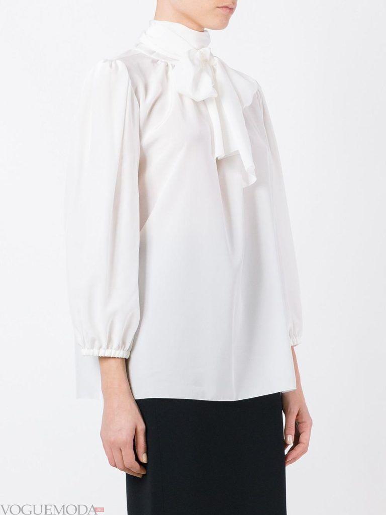 модная белая блузка с бантом