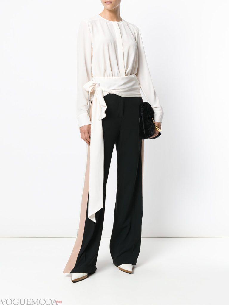 модная белая блузка с поясом