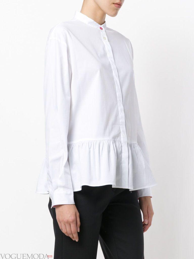 модная белая блузка с баской