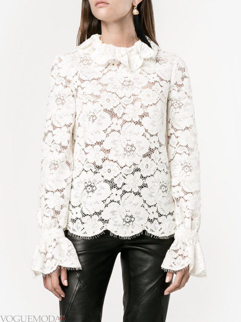 модная белая кружевная блузка