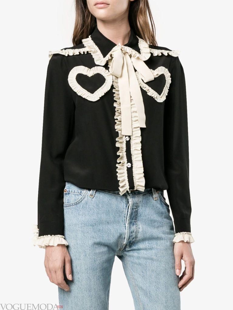 модная блузка с бантом двухцветная