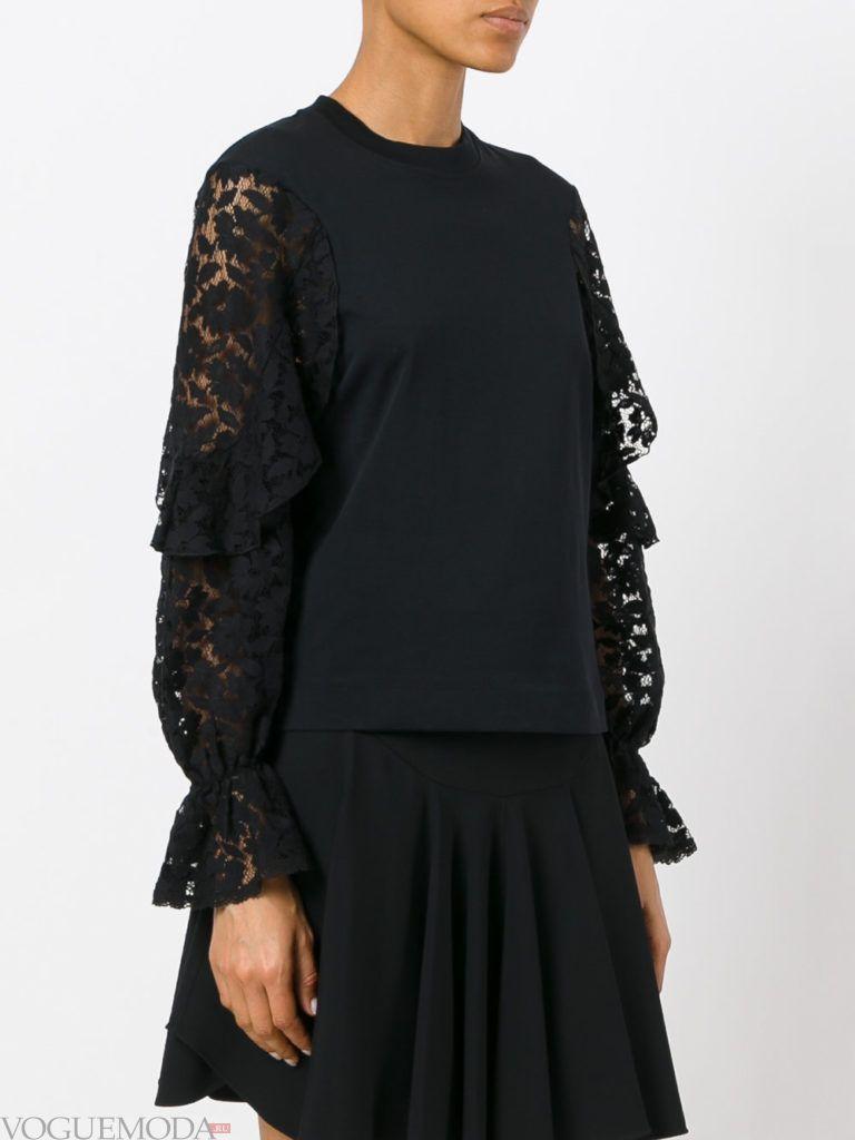 модная кружевная блузка темная
