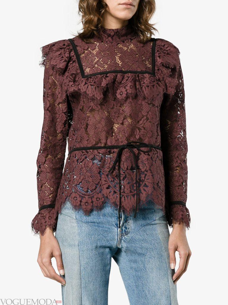 модная кружевная блузка коричневая