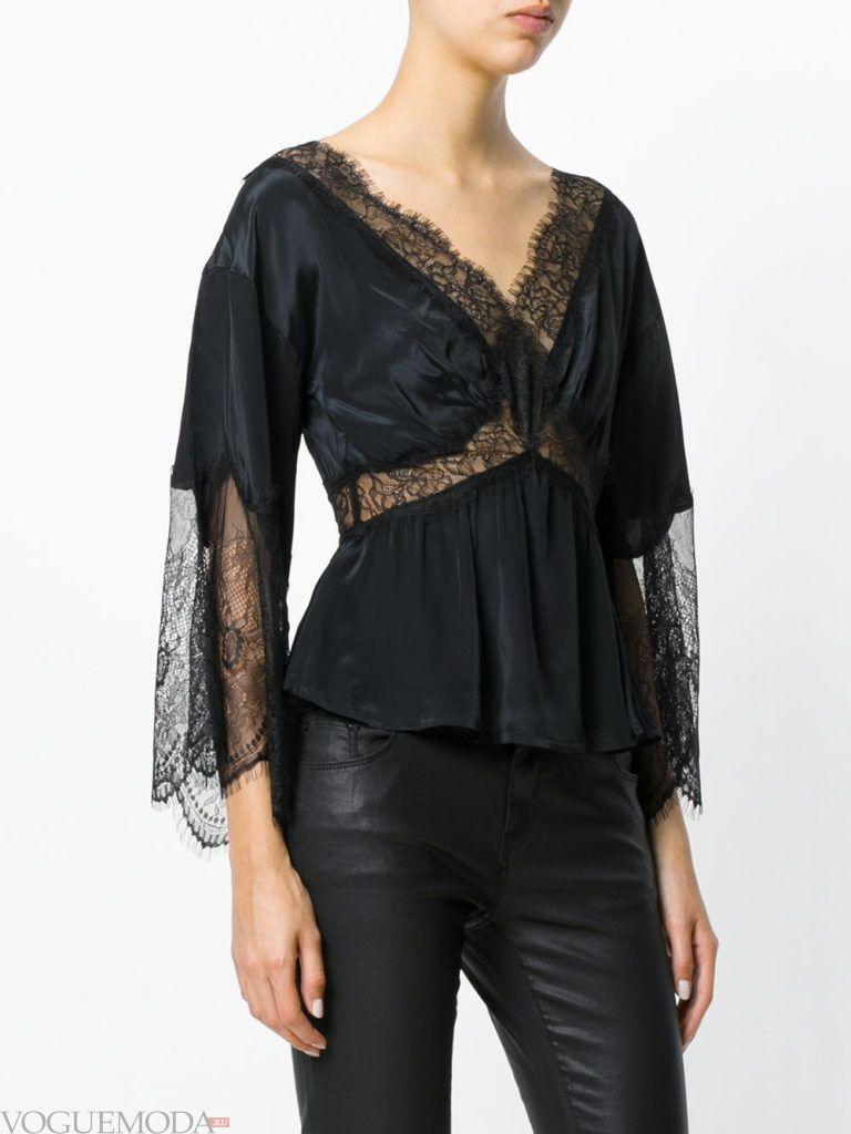 модная кружевная блузка черная