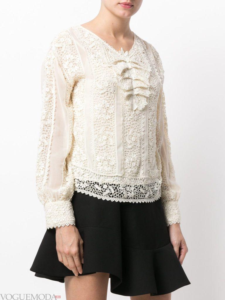 модная кружевная блузка белая