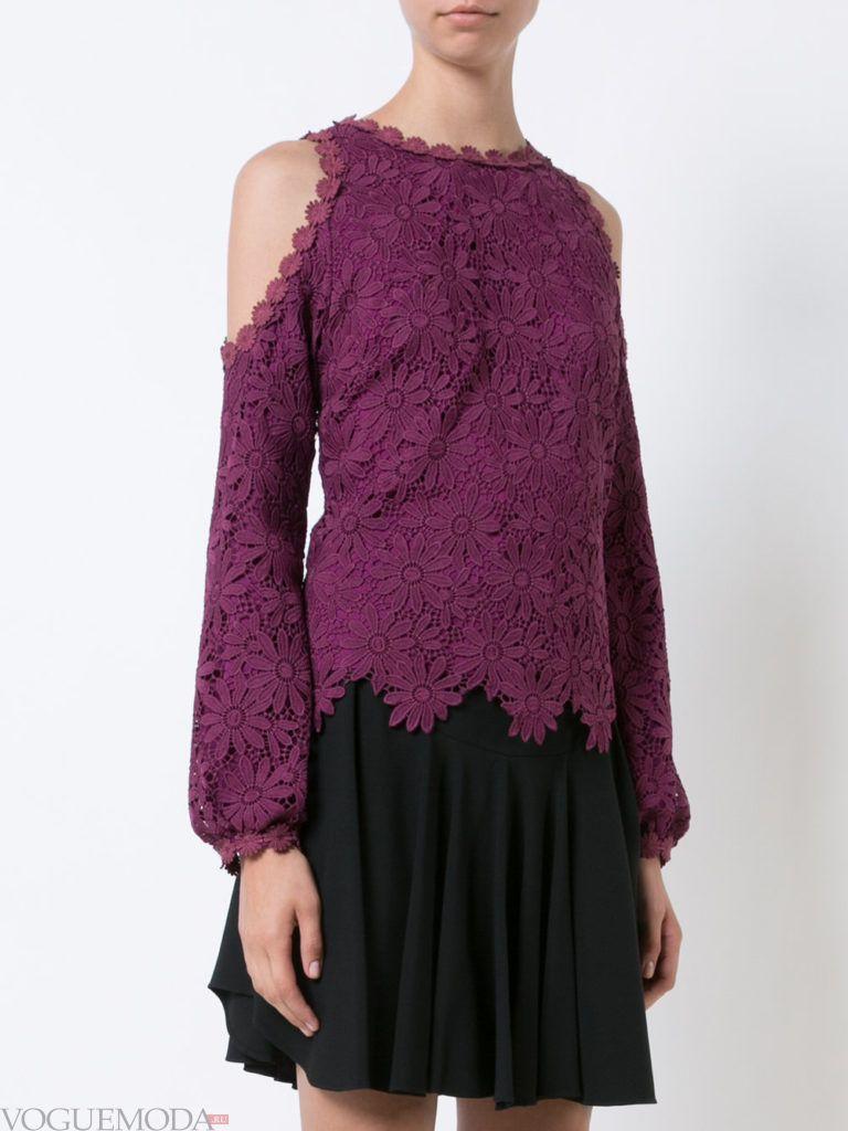 модная кружевная блузка фиолетовая