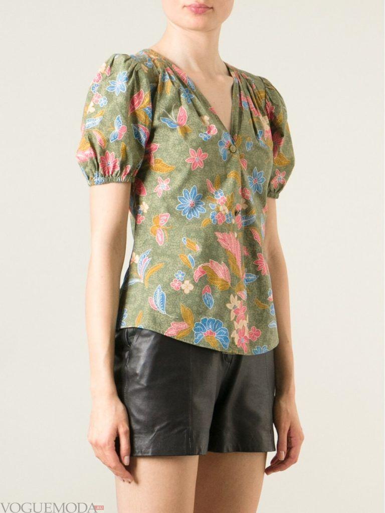 блузка с рукавом «фонарик» цветная