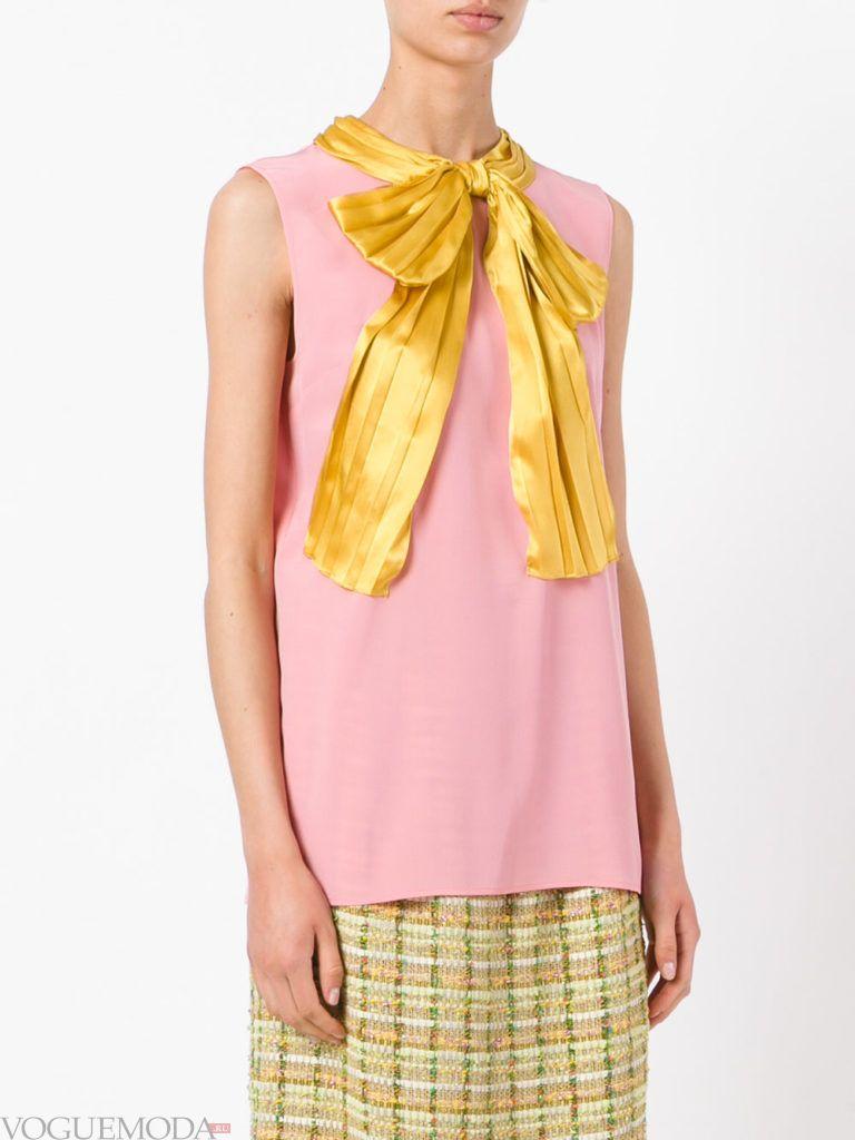 модная блузка с бантом розовая