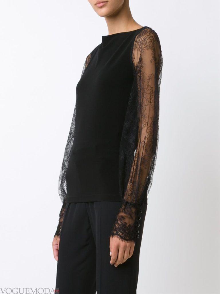 блузка с рукавом «фонарик» черная