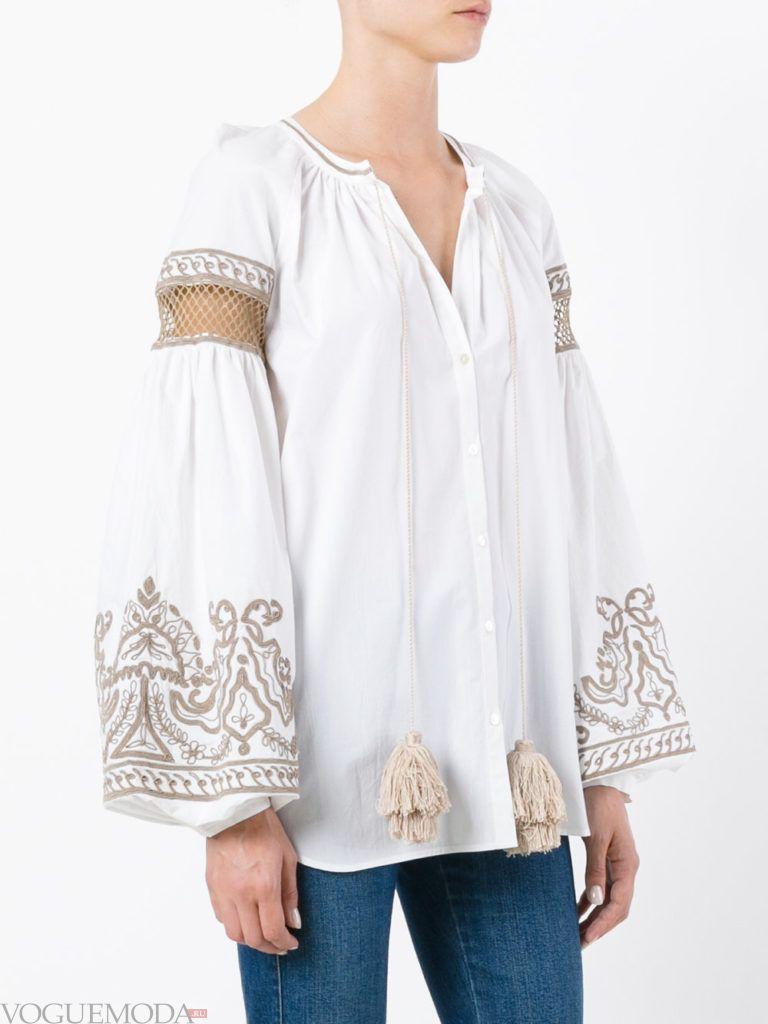 блузка с рукавом «фонарик» белая