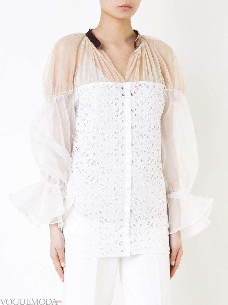 блузка с рукавом «фонарик» прозрачная