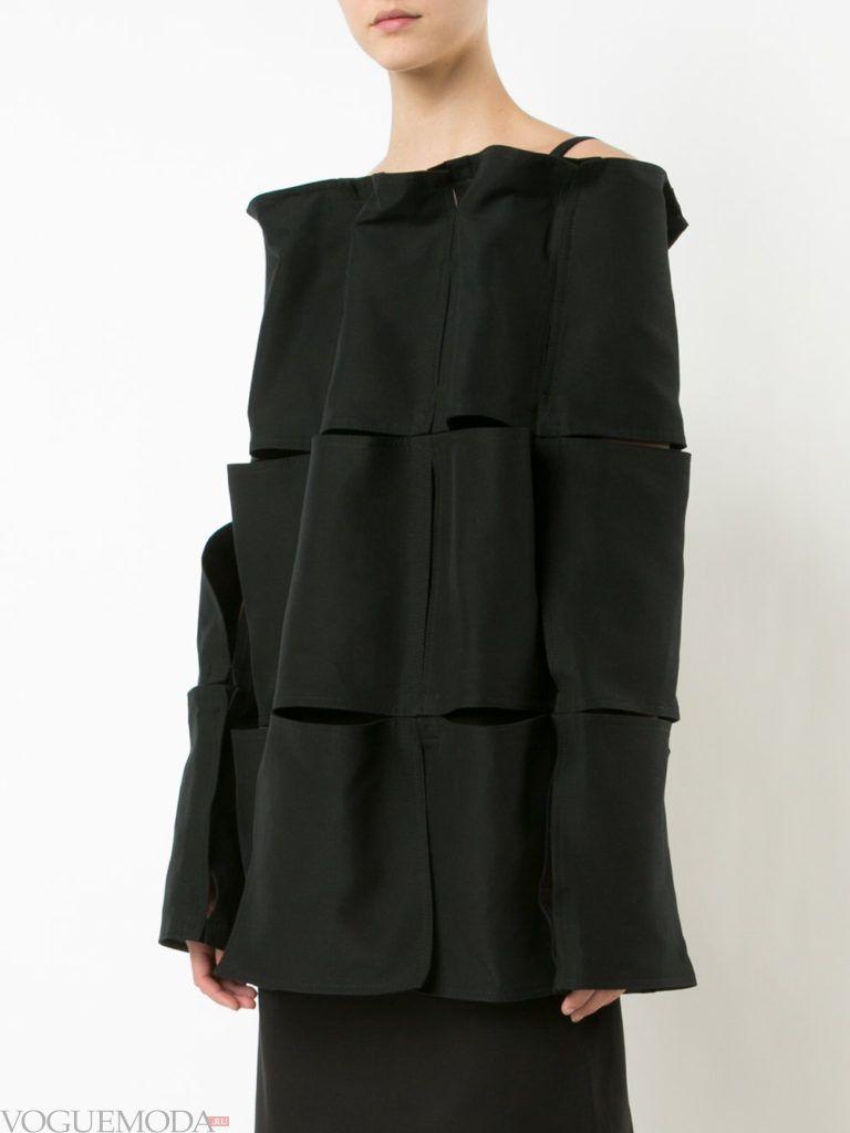 блузка из перфорированной ткани черная