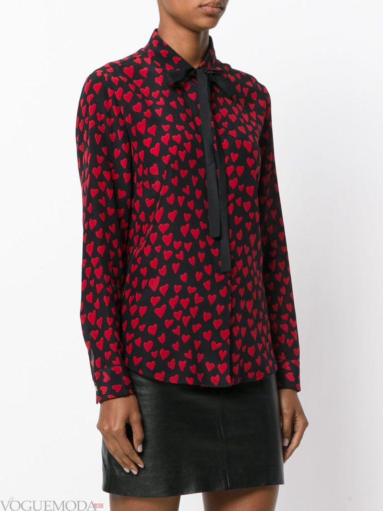 модная блузка с бантом с принтом