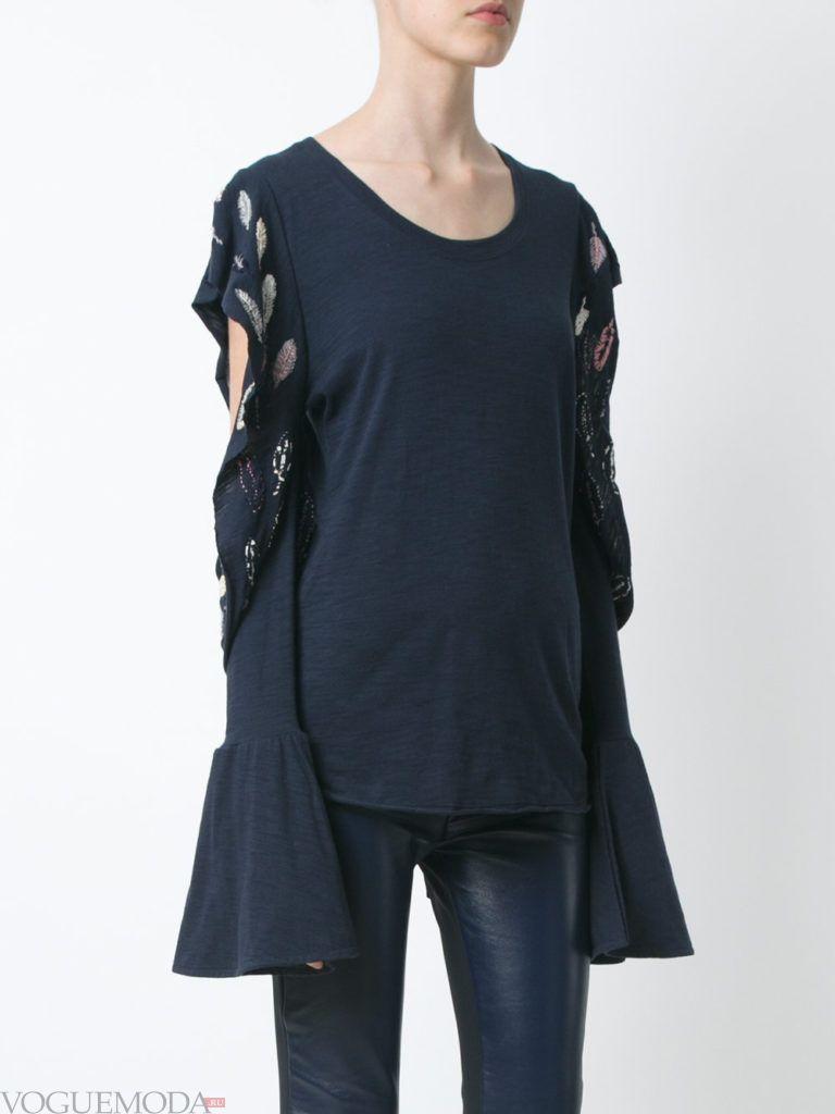 модная блузка синяя