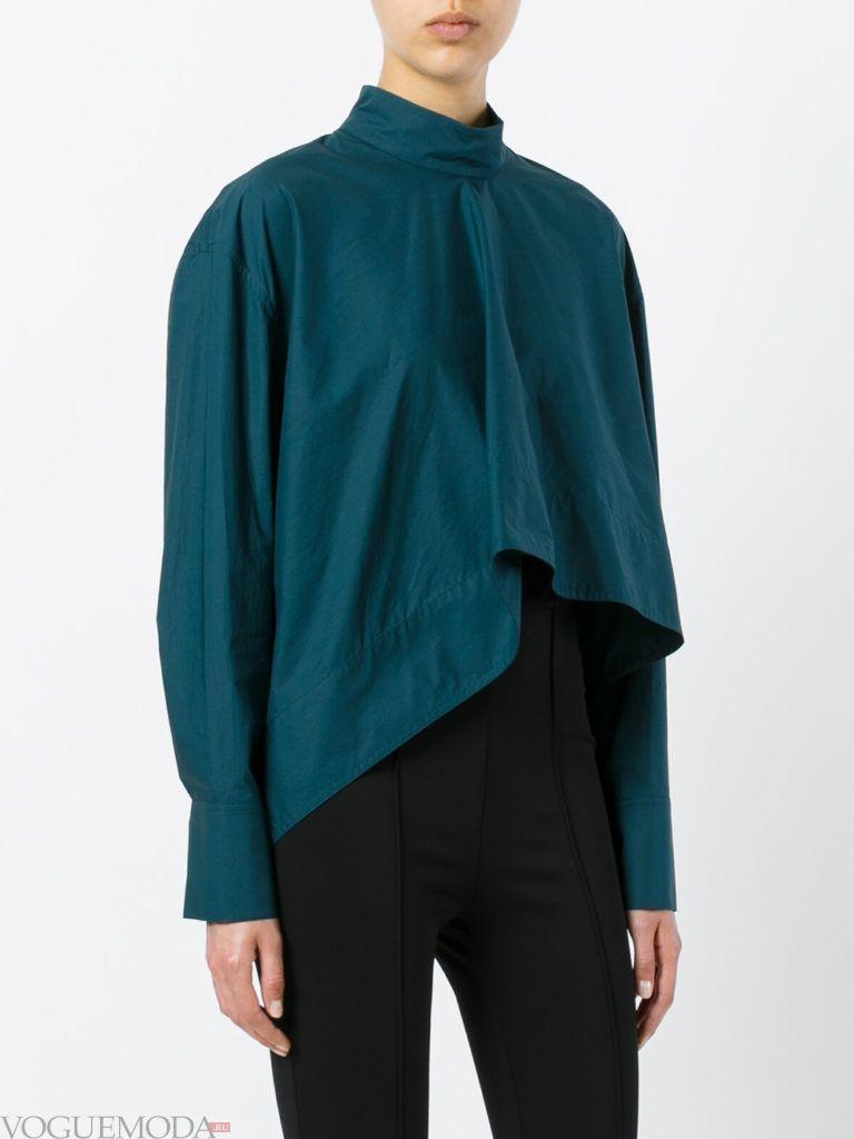 модная блузка с асимметрией бирюзоваяя