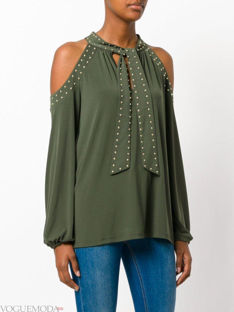 модная блузка с асимметрией зеленая