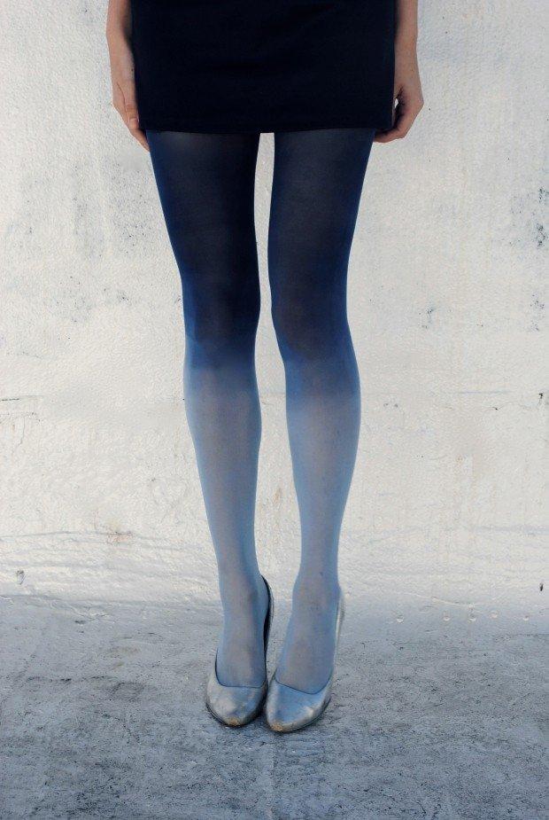 градиентные колготки синие
