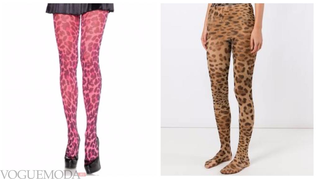 колготки с леопардовым принтом разные