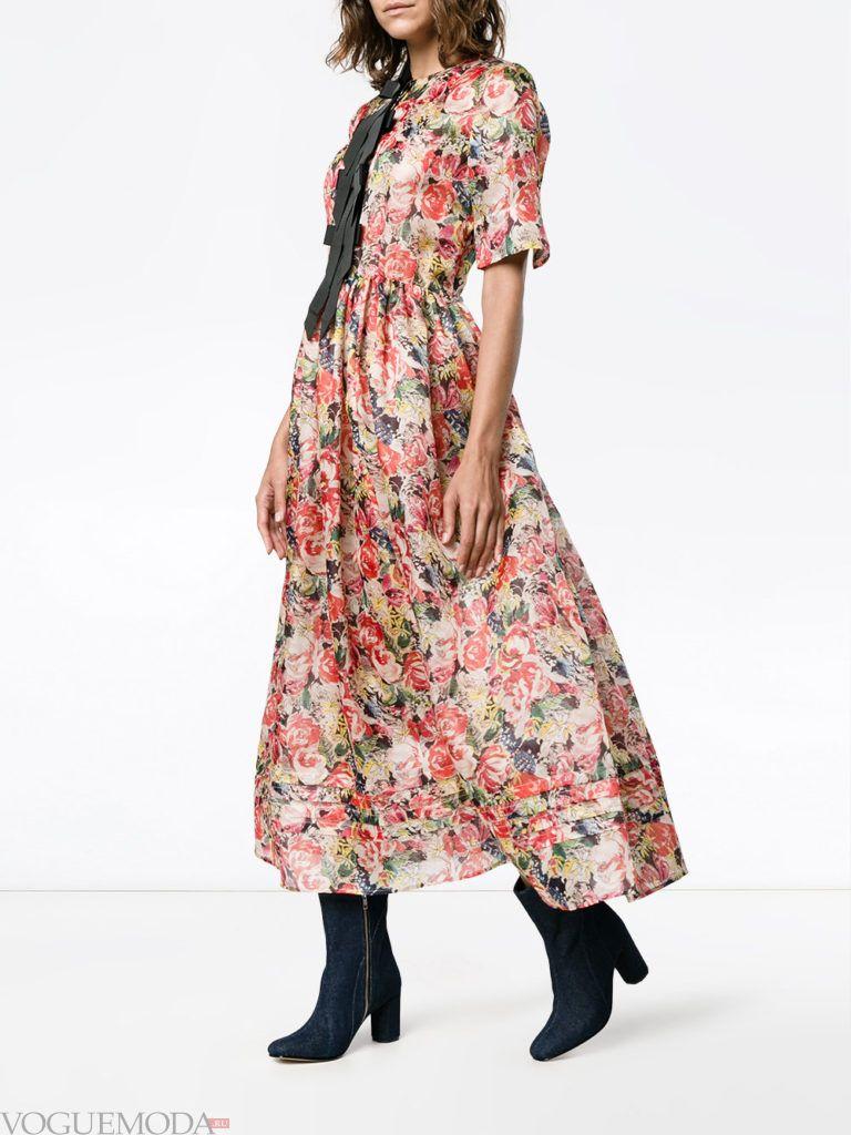 модный лук с платьем с принтом