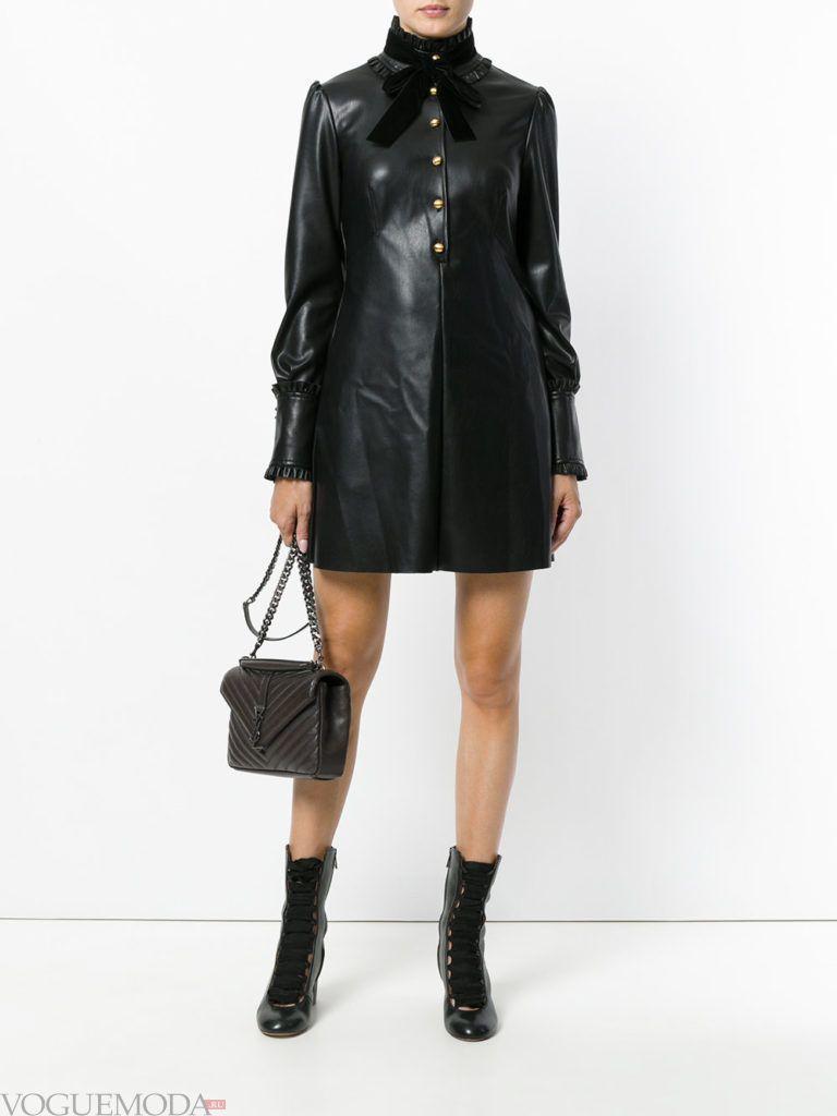 модный лук с кожаным платьем