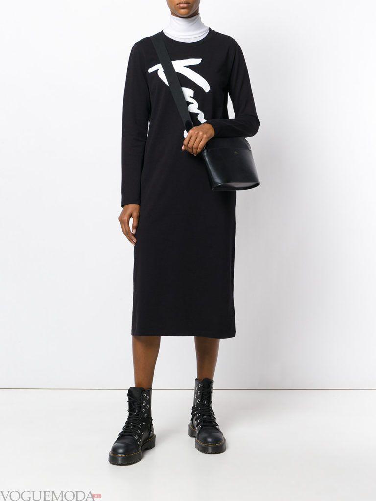 модный лук с темным платьем