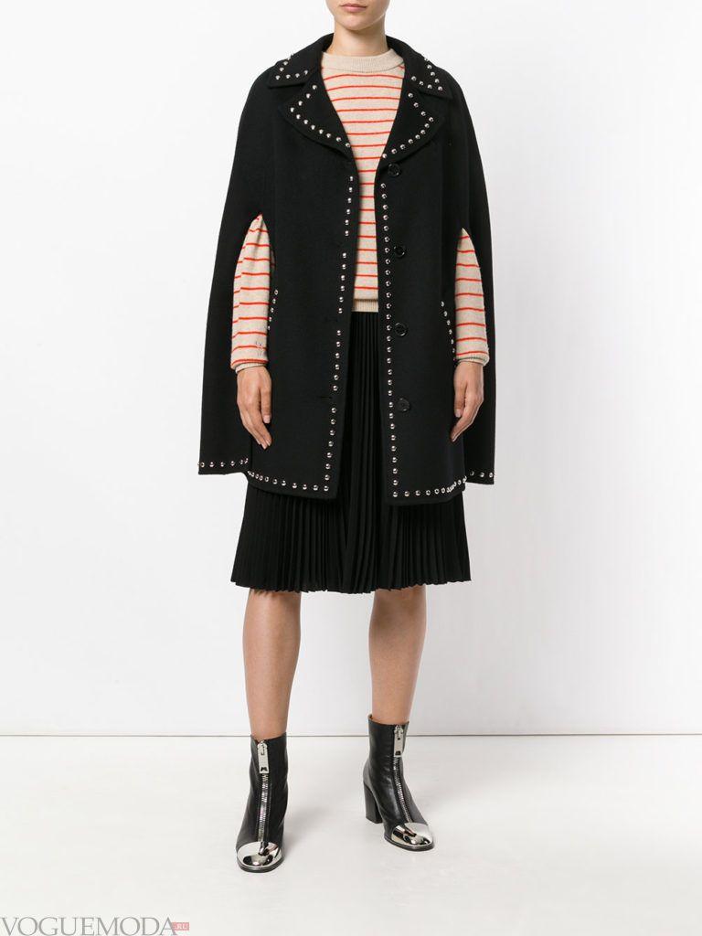 модное пальто-накидка черное