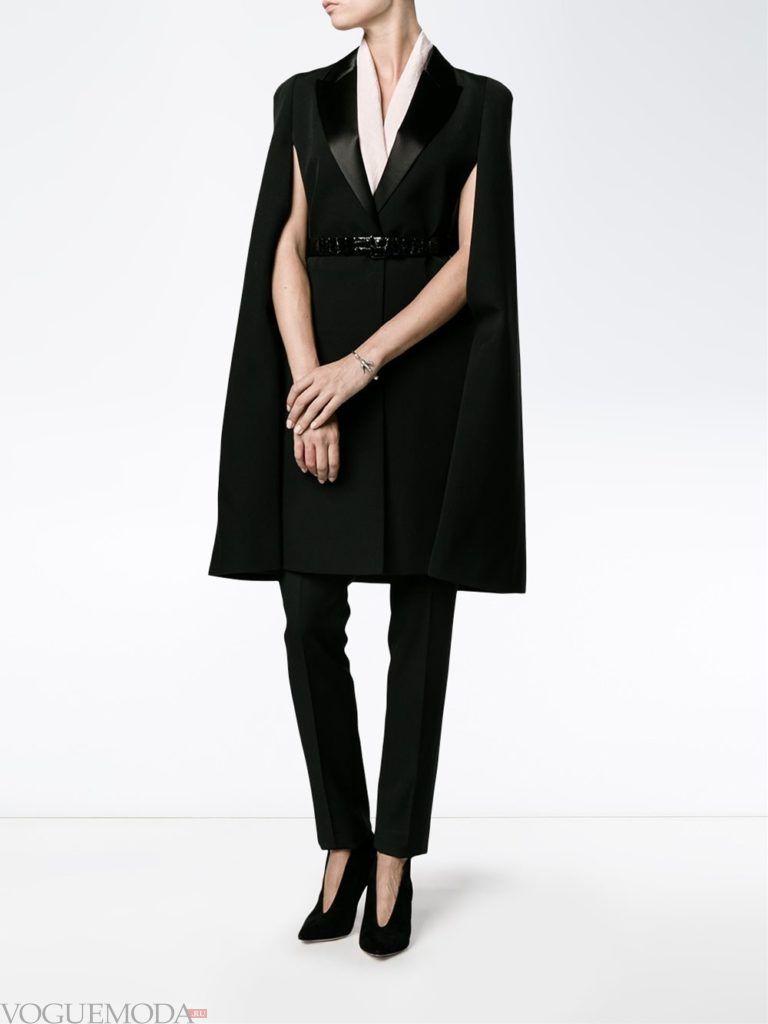 модное пальто-накидка темное