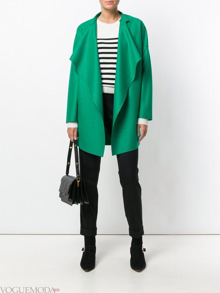 модное пальто оверсайз зеленое