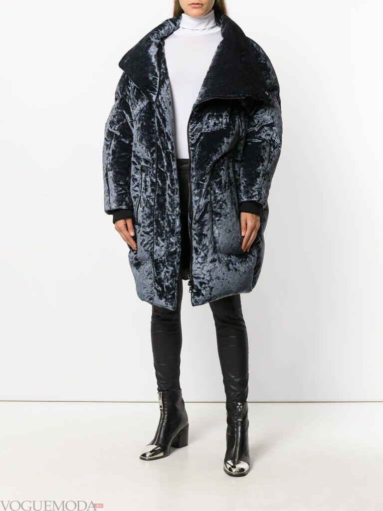 модное пальто оверсайз бархатное