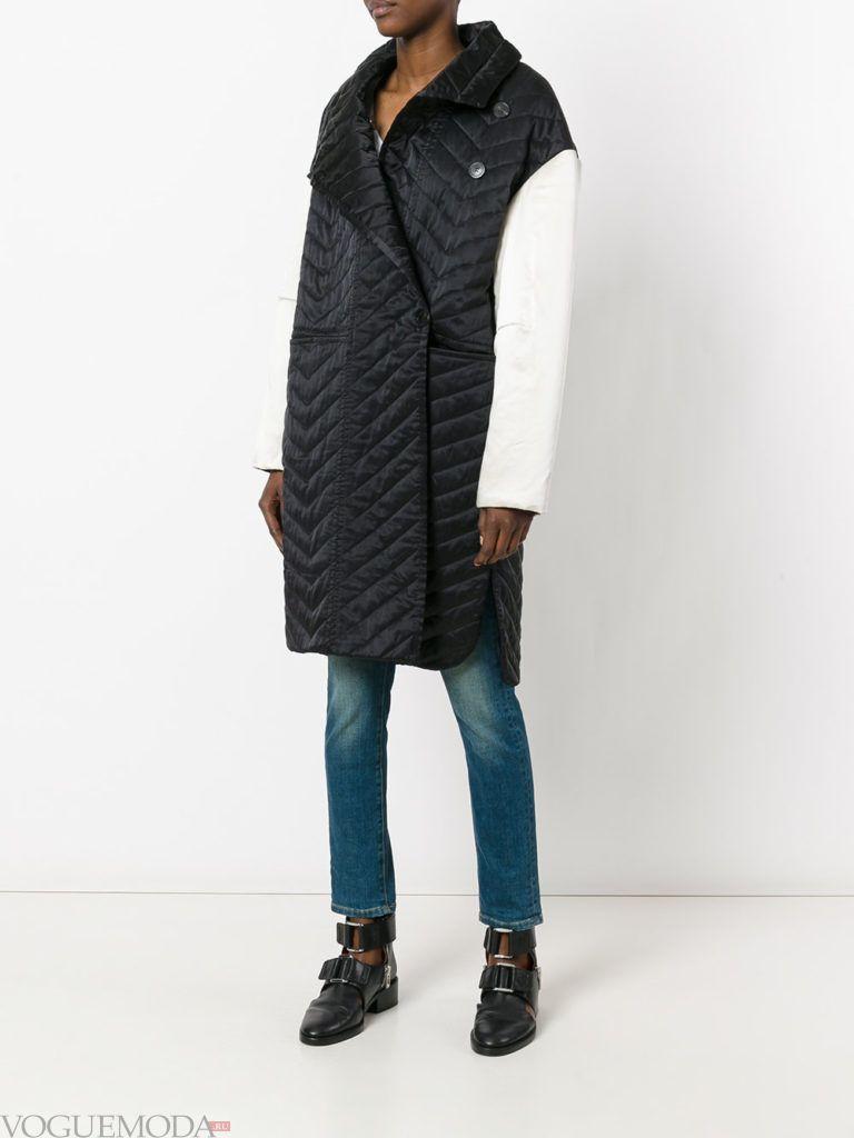 модное стеганое пальто двухцветное