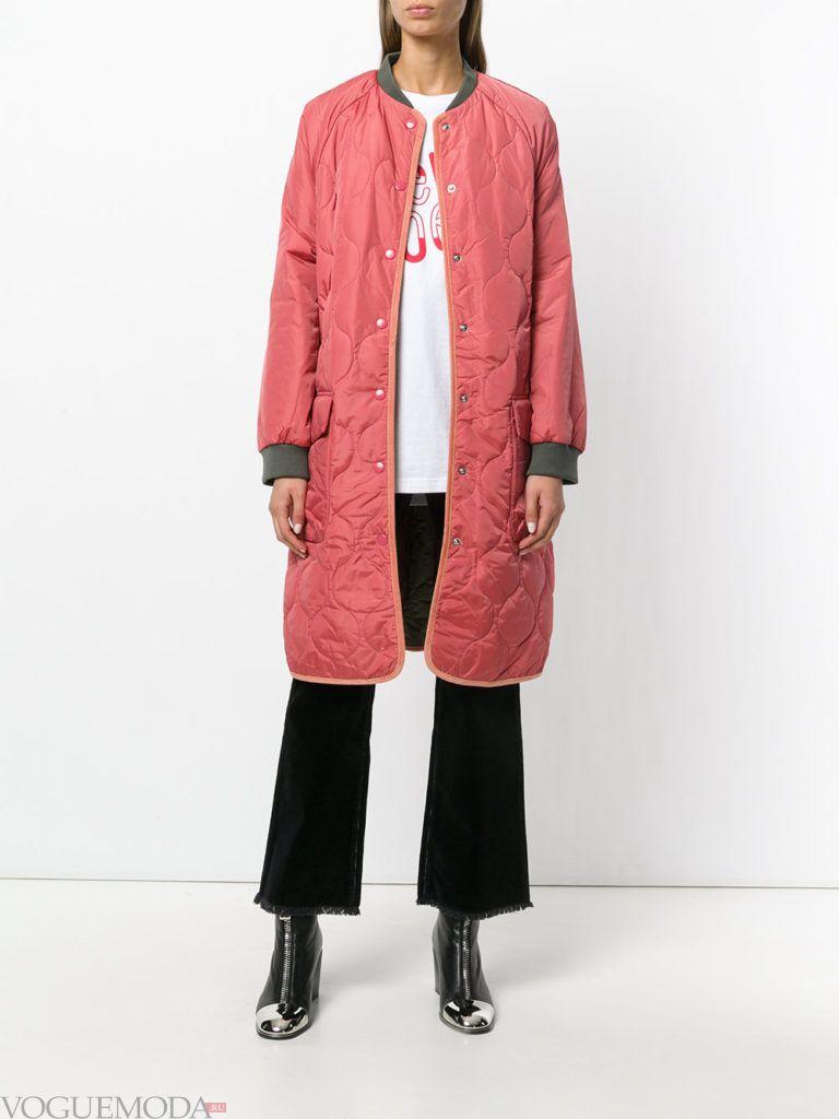 модное стеганое пальто розовое