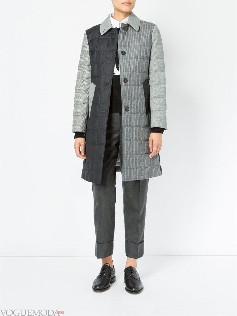 модное стеганое пальто серое