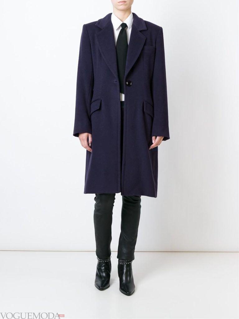 модное пальто унисекс синее