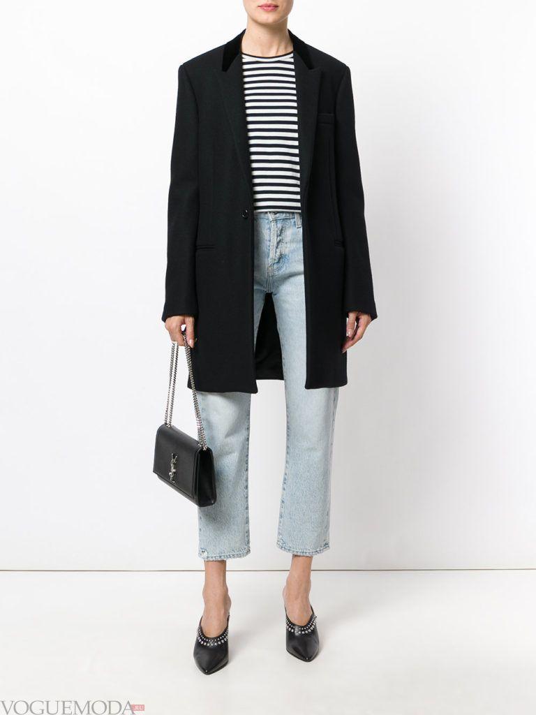 модное пальто унисекс черное