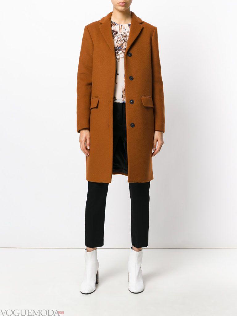 модное пальто унисекс коричневое