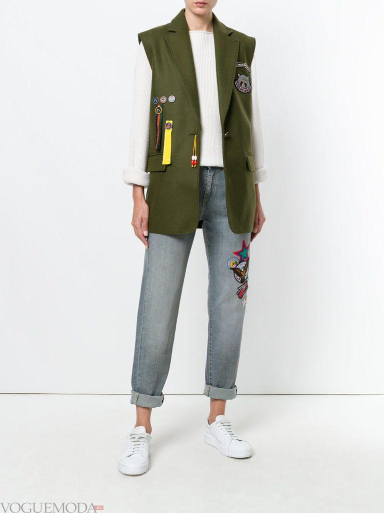 модное пальто без рукавов зеленое