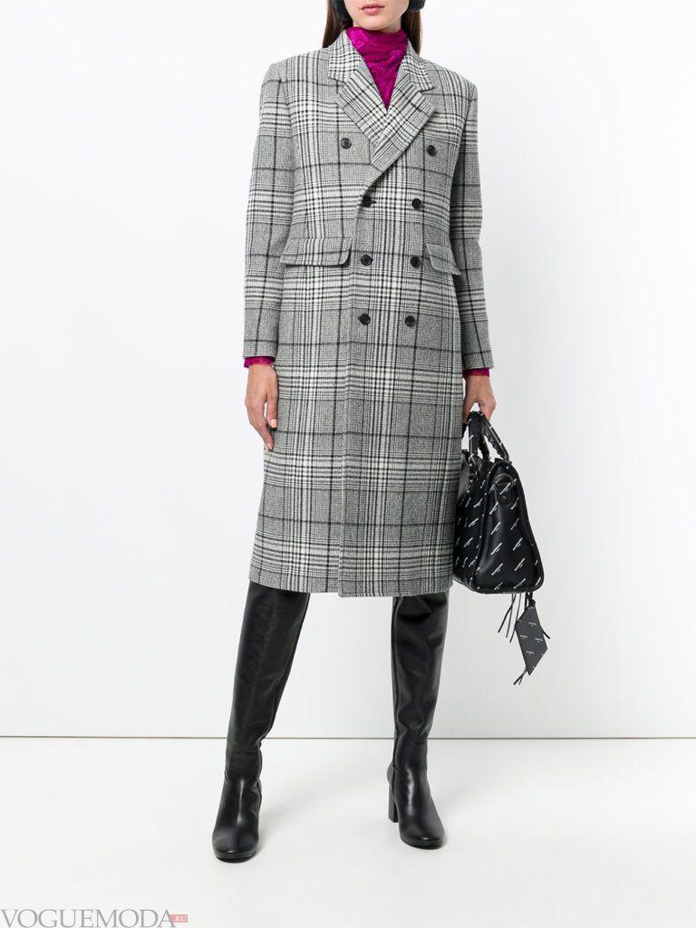 модное классическое серое пальто