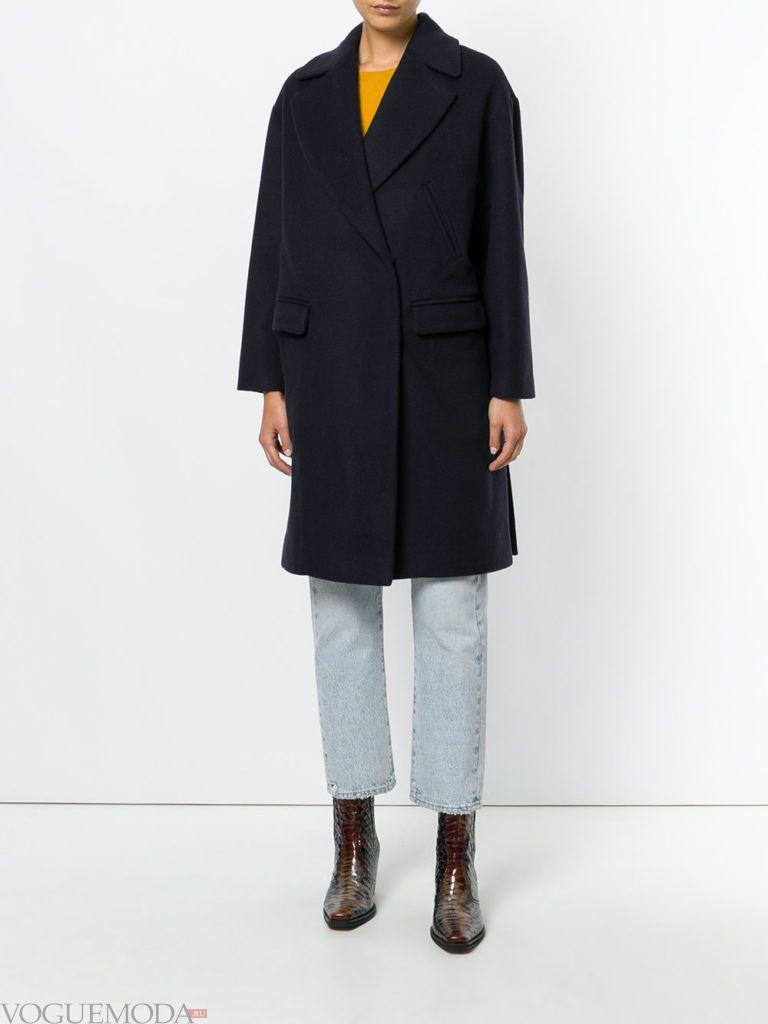 модное пальто в мужском стиле черное