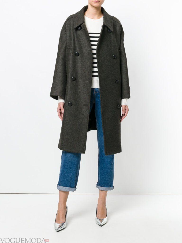 модное пальто в мужском стиле темное