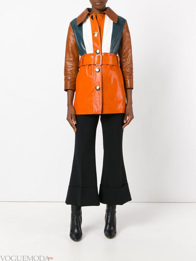 модное кожаное цветное пальто