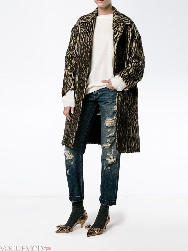 модное пальто с хищным принтом темное