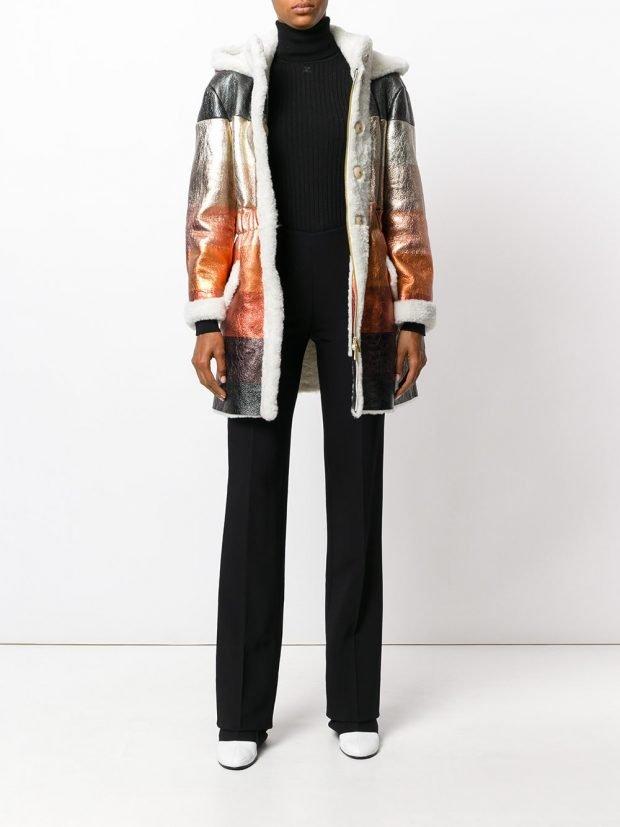 модное разноцветное пальто