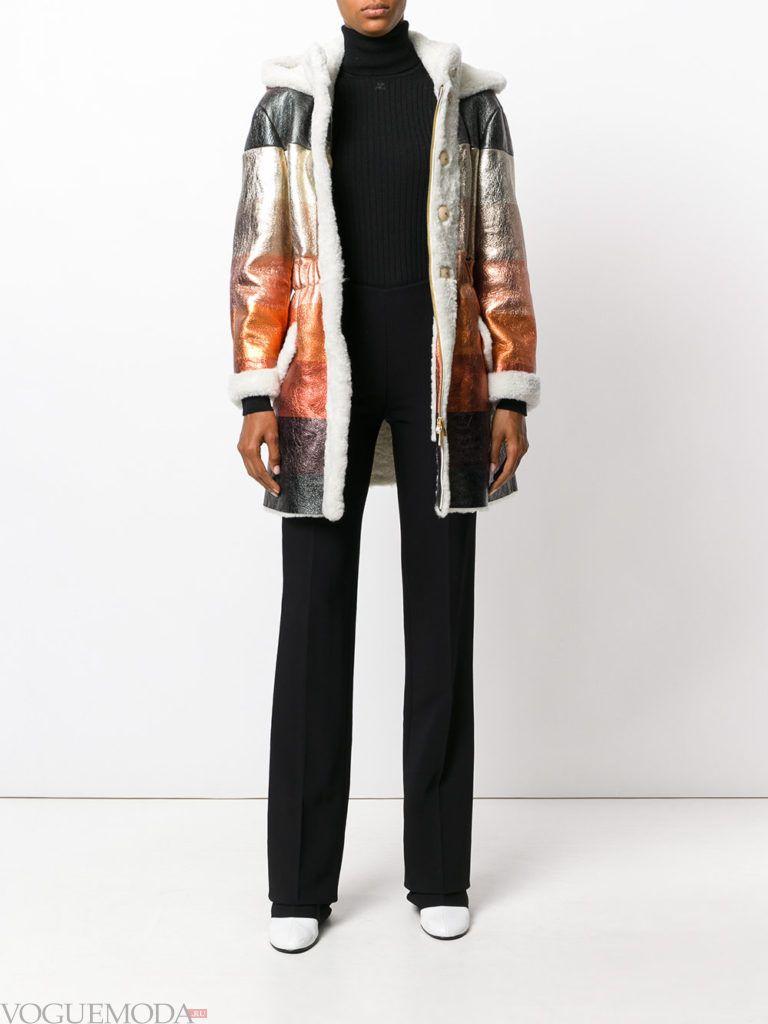 модное сразноцветное пальто