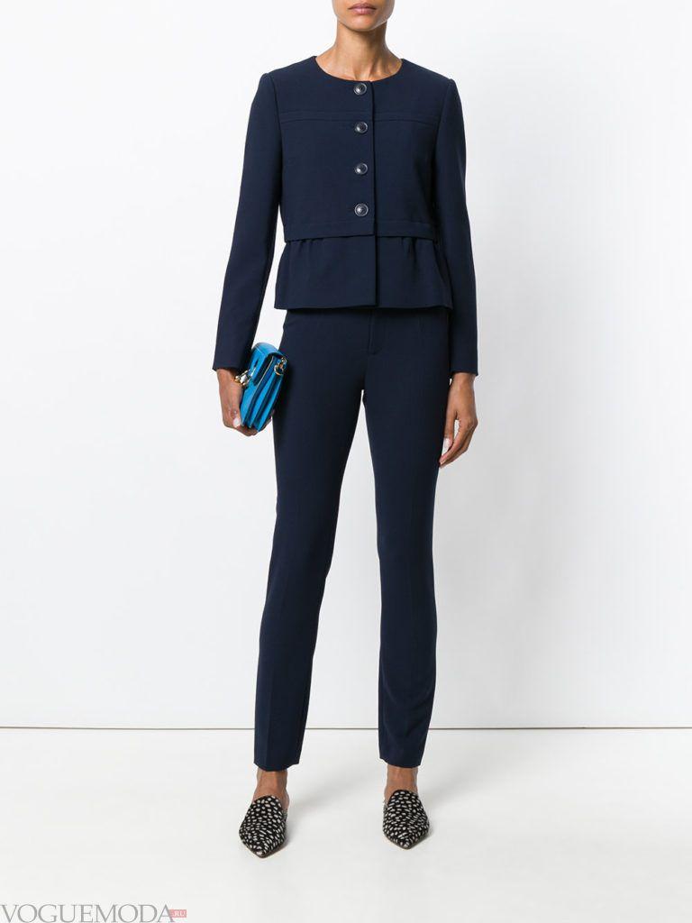 пиджак-пеплум синий