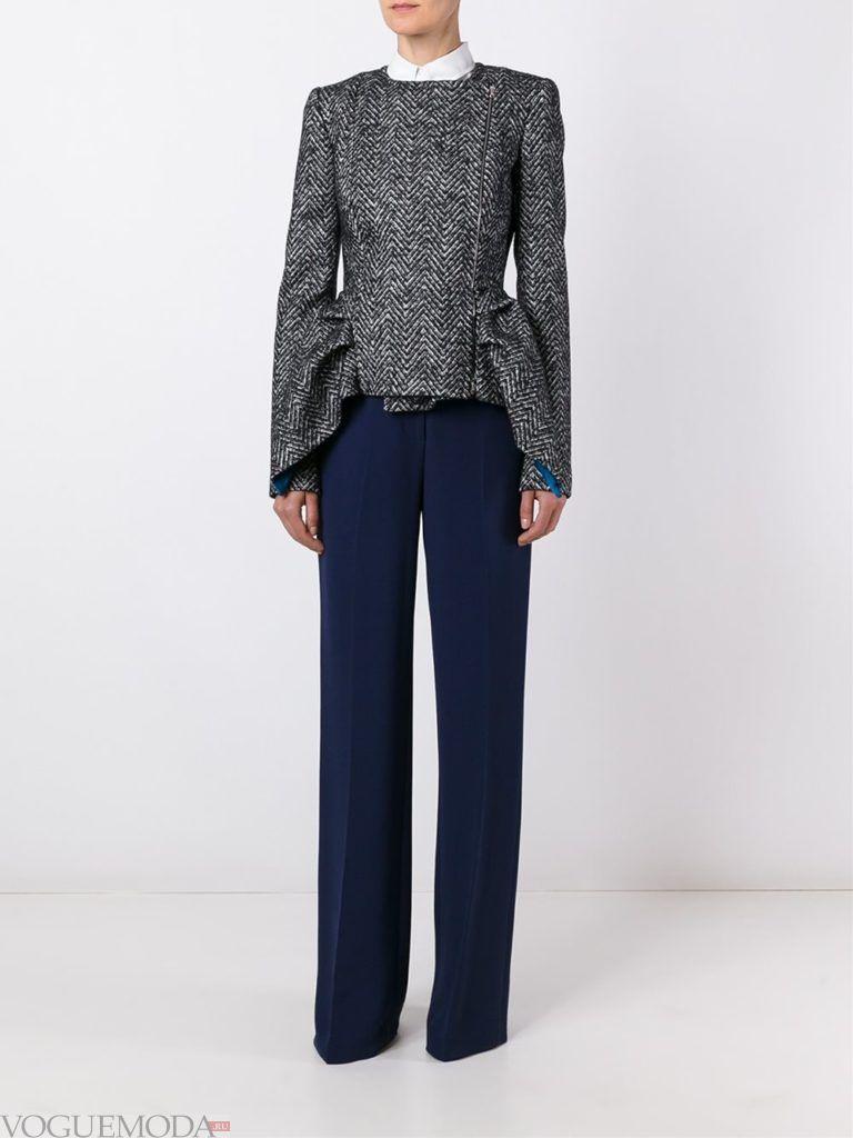 пиджак-пеплум серый