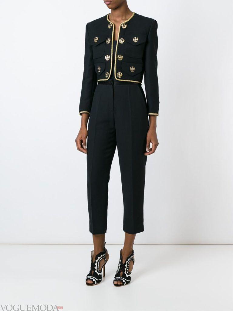 женский пиджак в военном стиле с декором