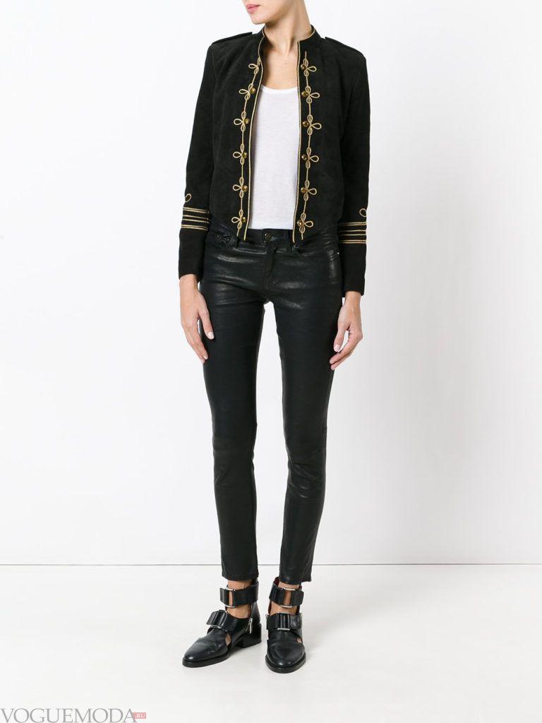 женский пиджак в военном стиле темный