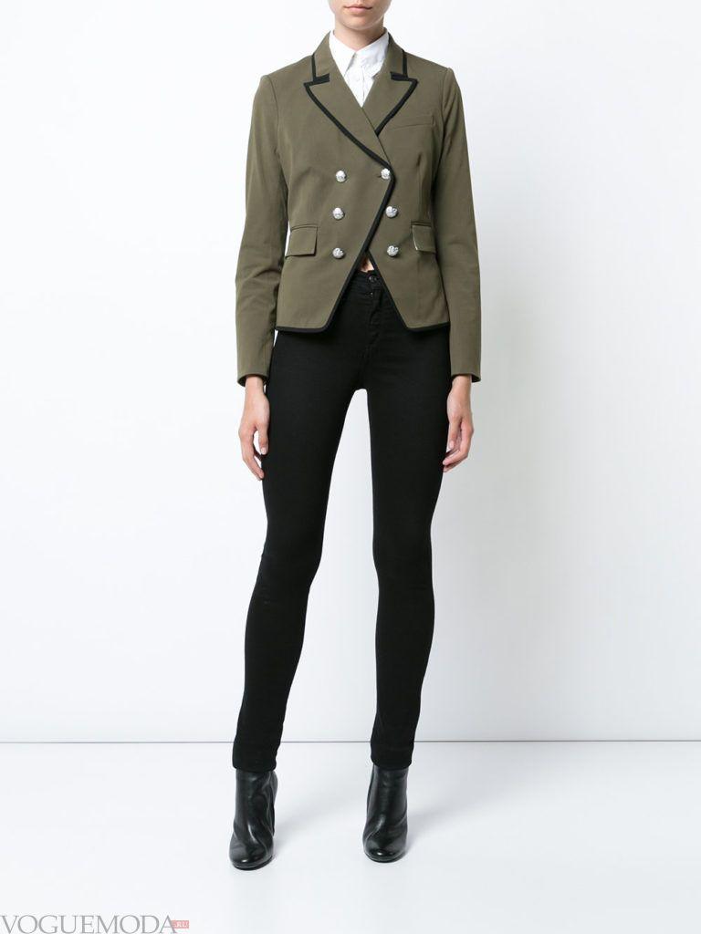 женский пиджак в военном стиле зеленый